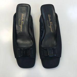 Salvatore Ferragamo Black Wedge Sandals